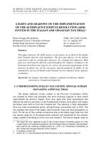 prikaz prve stranice dokumenta LIGHTS AND SHADOWS ON THE IMPLEMENTATION OF THE ALTERNATIVE DISPUTE RESOLUTION (ADR) SYSTEM IN THE ITALIAN AND CROATIAN TAX TRIAL
